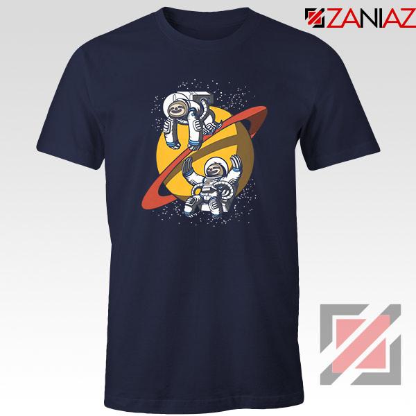 Sloth Lazy Astronauts Graphic Navy Blue Tee