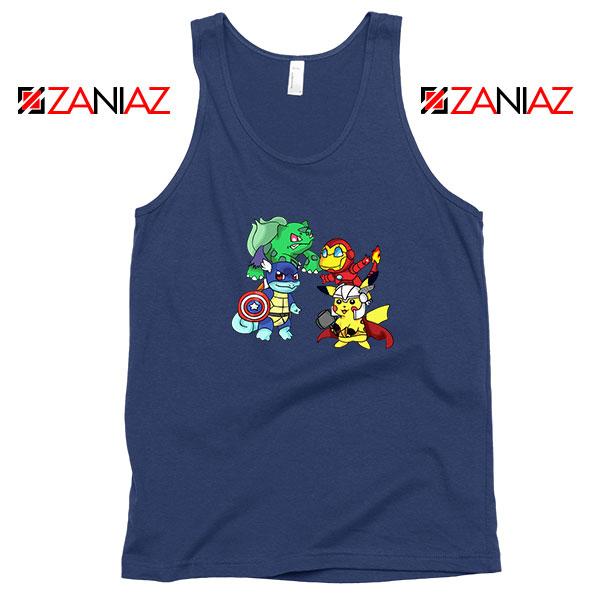 Superhero Pokemon Avengers Navy Blue Tank Top