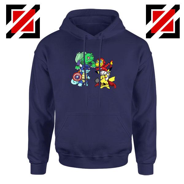Superhero Pokemon The Avengers Navy Blue Hoodie