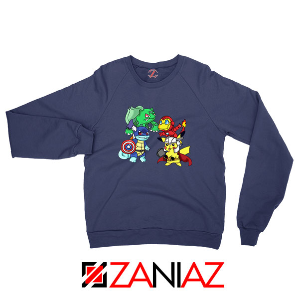 Superhero Pokemon The Avengers Navy Blue Sweatshirt
