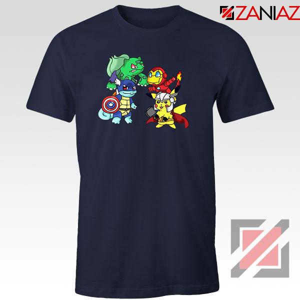 Superhero Pokemon The Avengers Navy Blue Tshirt
