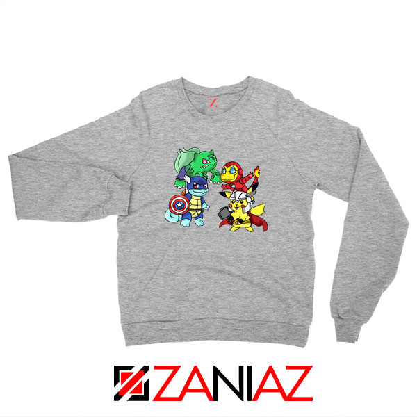 Superhero Pokemon The Avengers Sport Grey Sweatshirt