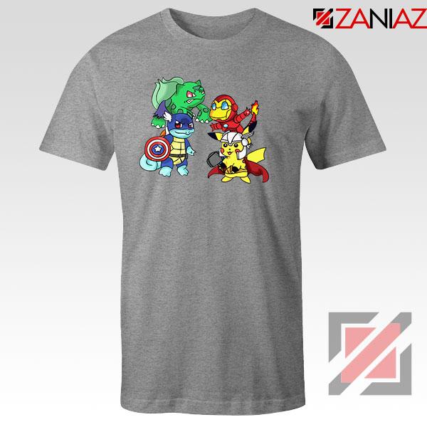 Superhero Pokemon The Avengers Sport Grey Tshirt