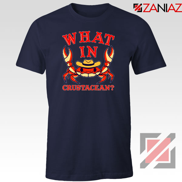 What In Crab Crustacean Design Navy Blue Tshirt