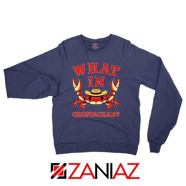 What In Crab Crustacean Graphic Navy Blue Sweatshirt