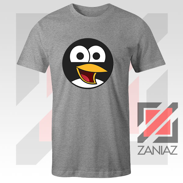 Angry Tux The Penguin Sport Grey Tshirt
