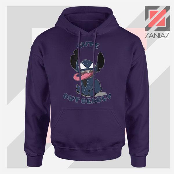 Cute Stitch Venom Deadly Design Navy Blue Hoodie