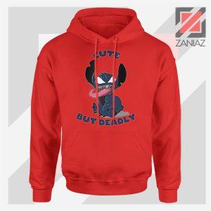 Cute Stitch Venom Deadly Design Red Hoodie