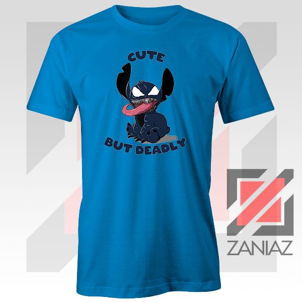 Cute Stitch Venom Deadly Graphic Blue Tshirt