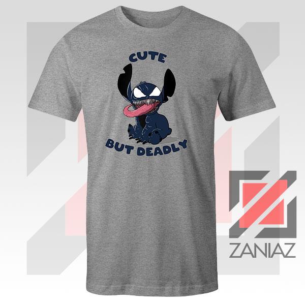 Cute Stitch Venom Deadly Graphic Grey Tshirt