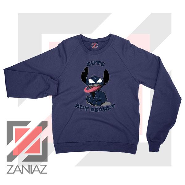 Cute Stitch Venom Deadly Graphic Navy Blue Sweater