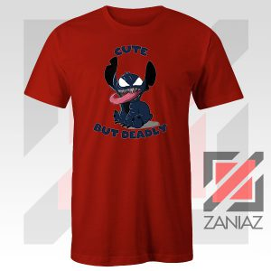 Cute Stitch Venom Deadly Graphic Red Tshirt