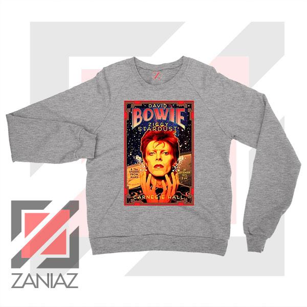 David Bowie Carnegie Halls Sport Grey Sweatshirt