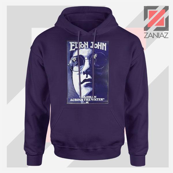 Elton John Fourth Album Poster Navy Blue Hoodie