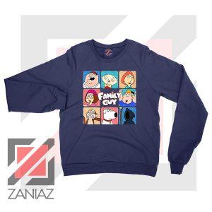 Family Guy Animated Face Grid Navy Blue Sweatshirt
