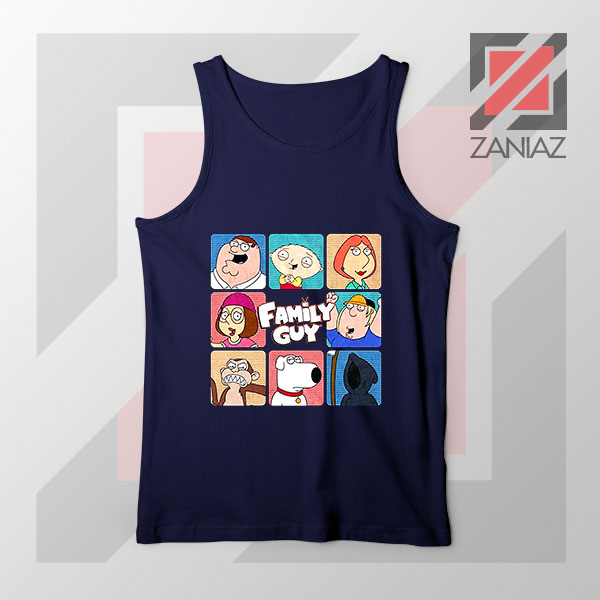 Family Guy Animated Face Grid Navy Blue Tank Top