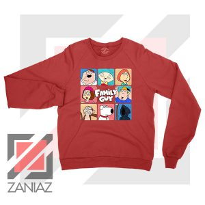 Family Guy Animated Face Grid Red Sweatshirt