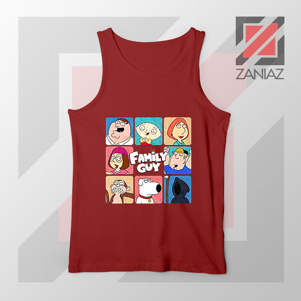 Family Guy Animated Face Grid Red Tank Top
