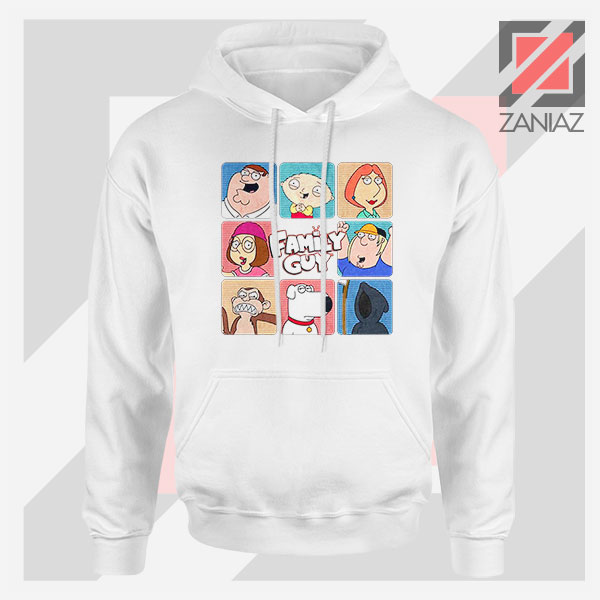 Family Guy Animated Face Grid White Hoodie