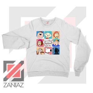 Family Guy Animated Face Grid White Sweatshirt
