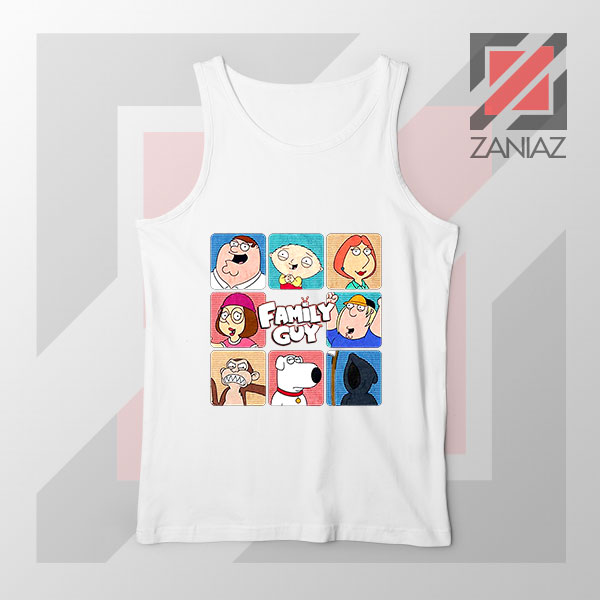 Family Guy Animated Face Grid White Tank Top