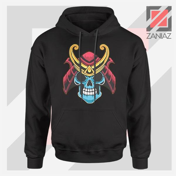 Japanese Samurai Skull Graphic Black Hoodie