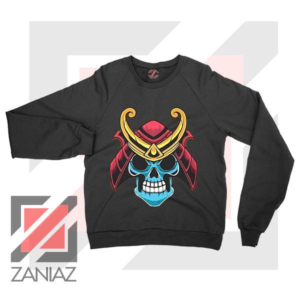 Japanese Samurai Skull Graphic Black Sweatshirt