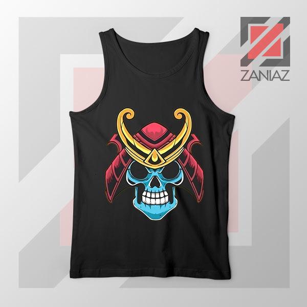 Japanese Samurai Skull Graphic Black Tank Top