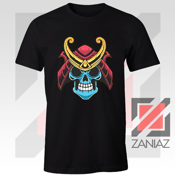 Japanese Samurai Skull Graphic Black Tshirt