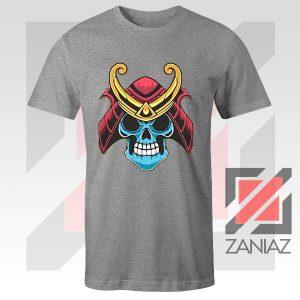 Japanese Samurai Skull Graphic Grey Tshirt
