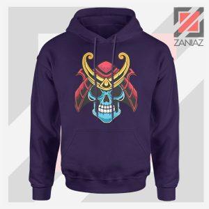 Japanese Samurai Skull Graphic Navy Blue Hoodie
