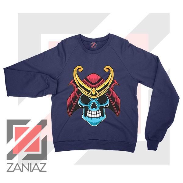 Japanese Samurai Skull Graphic Navy Blue Sweatshirt