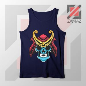 Japanese Samurai Skull Graphic Navy Blue Tank Top