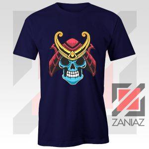 Japanese Samurai Skull Graphic Navy Tshirt