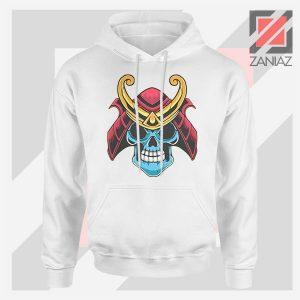 Japanese Samurai Skull Graphic White Hoodie