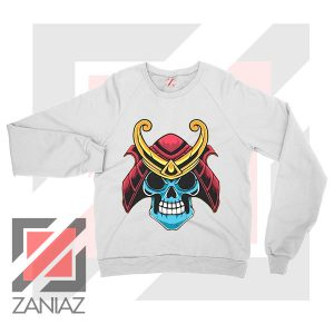 Japanese Samurai Skull Graphic White Sweatshirt