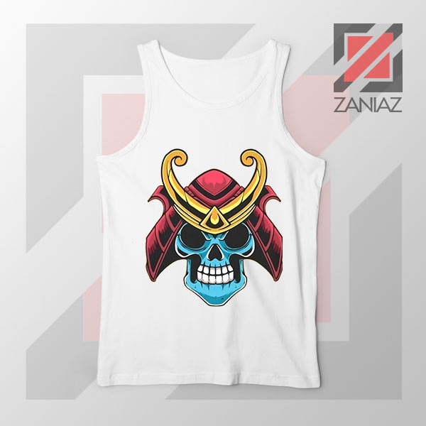 Japanese Samurai Skull Graphic White Tank Top