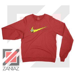 Just Spongebob Funny Nike Red Sweatshirt