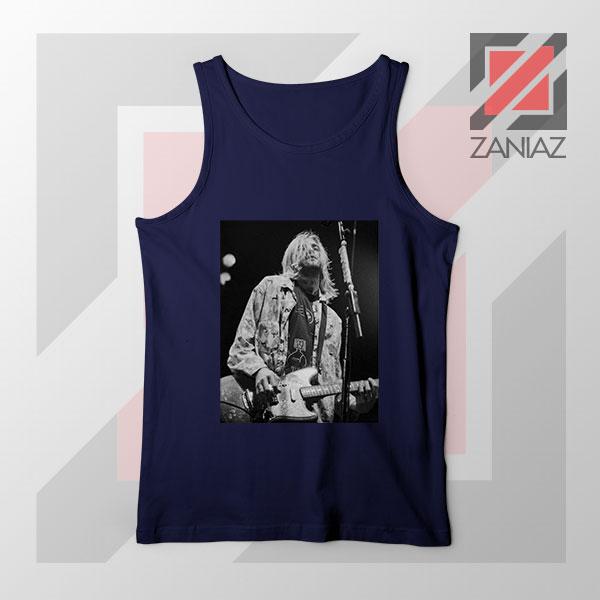 Kurt Cobain Concert Graphic Navy Blue Tank Top