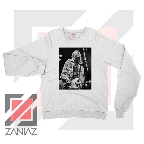 Kurt Cobain Concert Graphic White Sweatshirt
