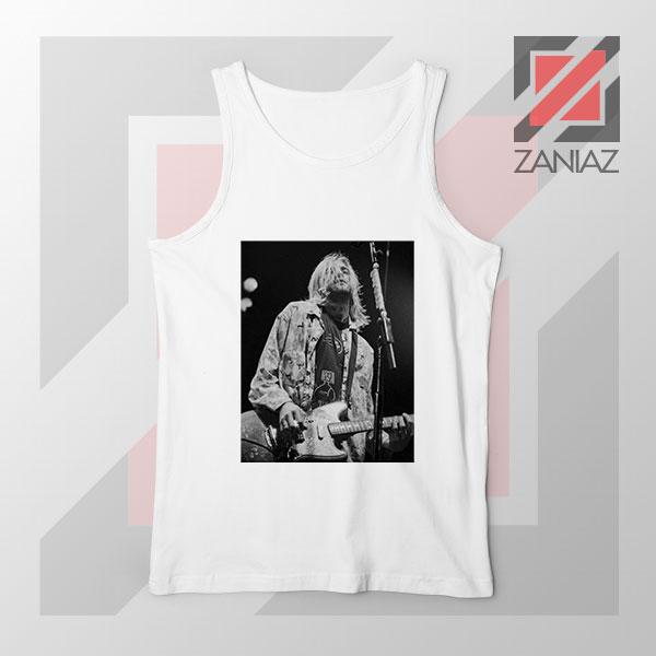 Kurt Cobain Concert Graphic White Tank Top