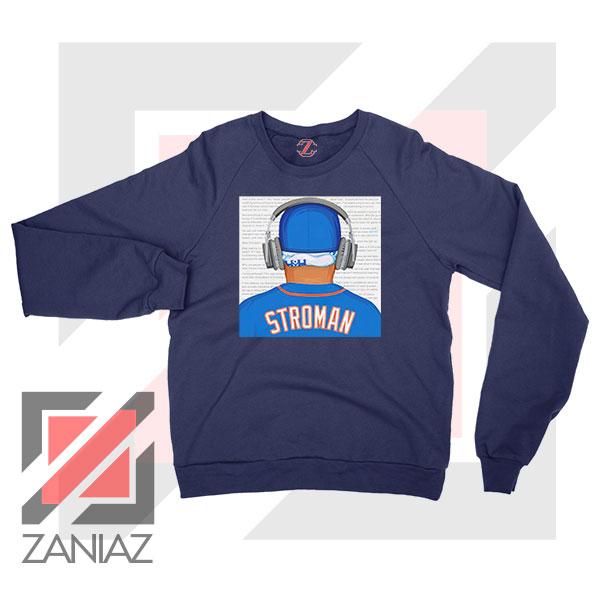 Marcus Stroman Behind Navy Blue Sweatshirt