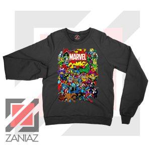 Marvel Comic Hero Collage Black Sweatshirt