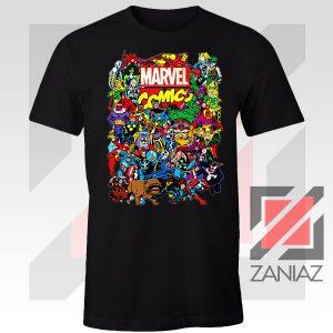Marvel Comic Hero Collage Black Tshirt