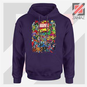Marvel Comic Hero Collage Navy Blue Hoodie