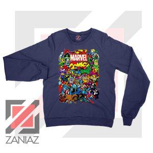 Marvel Comic Hero Collage Navy Blue Sweatshirt