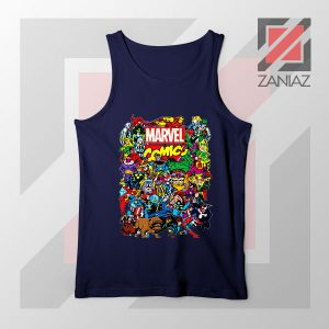 Marvel Comic Hero Collage Navy Blue Tank Top