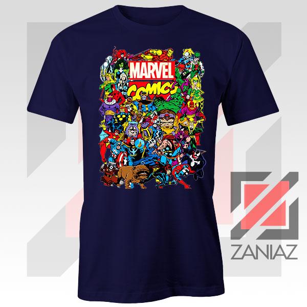 Marvel Comic Hero Collage Navy Blue Tshirt