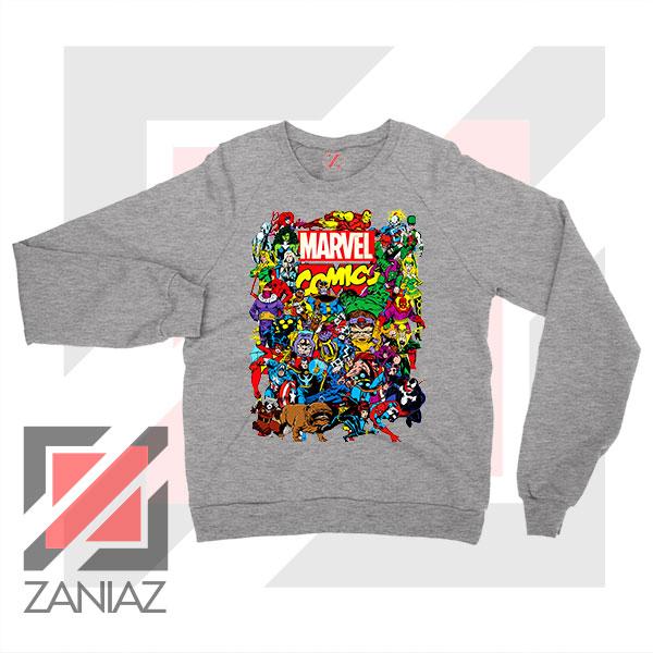 Marvel Comic Hero Collage Sport Grey Sweatshirt