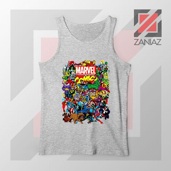 Marvel Comic Hero Collage Sport Grey Tank Top